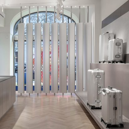 Interiors of Rimowa's Berlin store, designed by Universal Design Studio