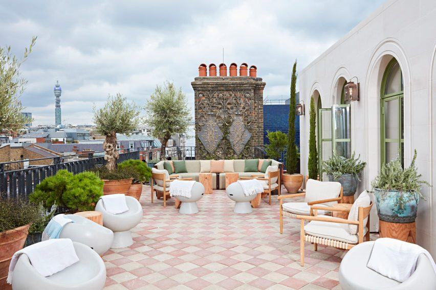 Roof terrace of The Conduit members club in London, UK