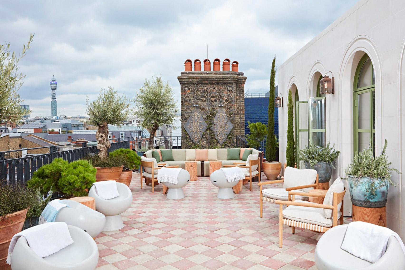 Roof terrace of The Conduit members club in London, UK