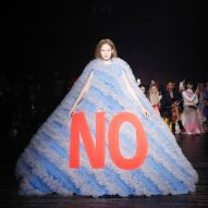 Viktor & Rolf pairs delicate dresses with bold slogans in Spring Summer 2019 couture
