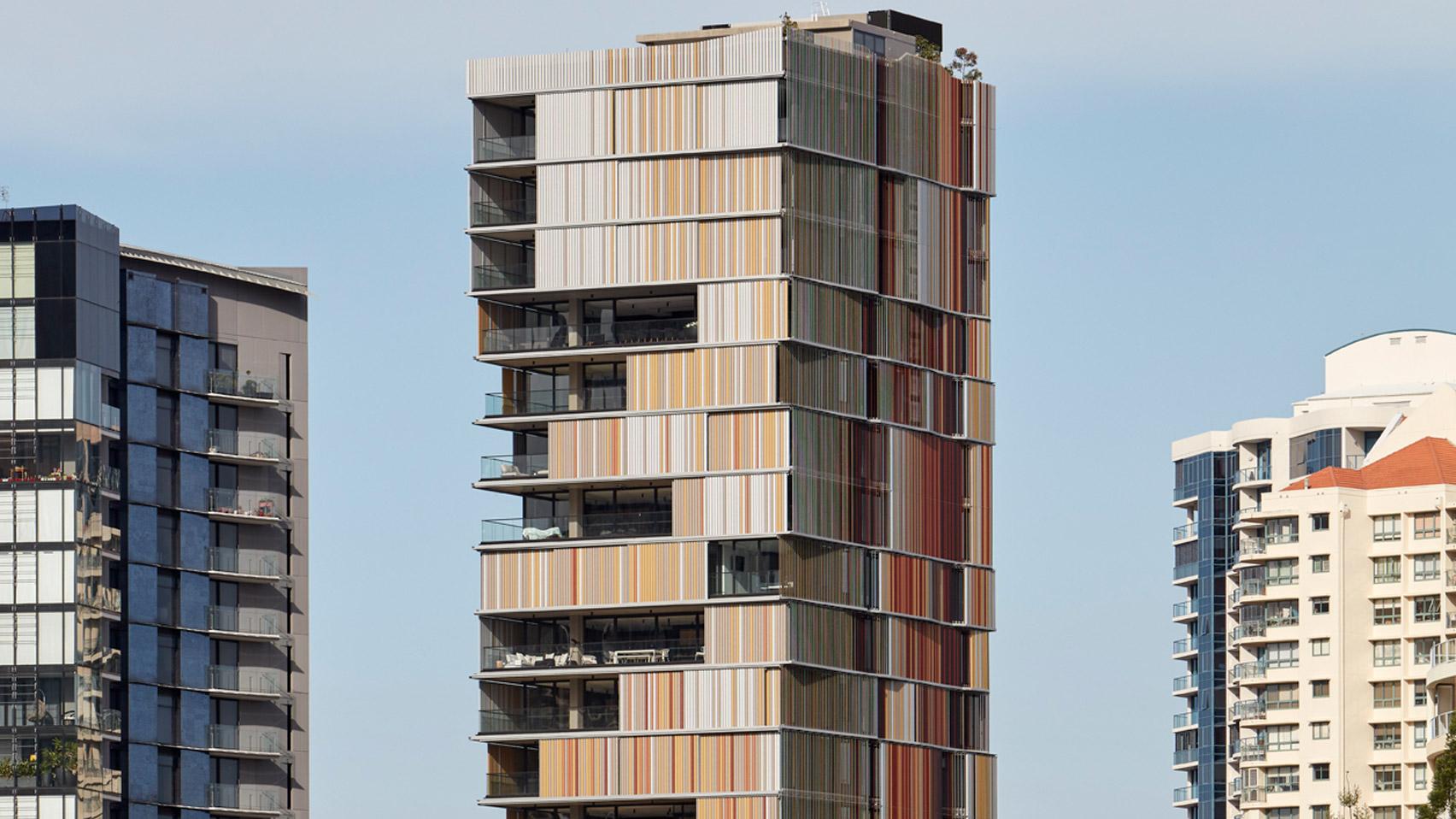 Bureau proberts wraps walan residential tower in brisbane in a