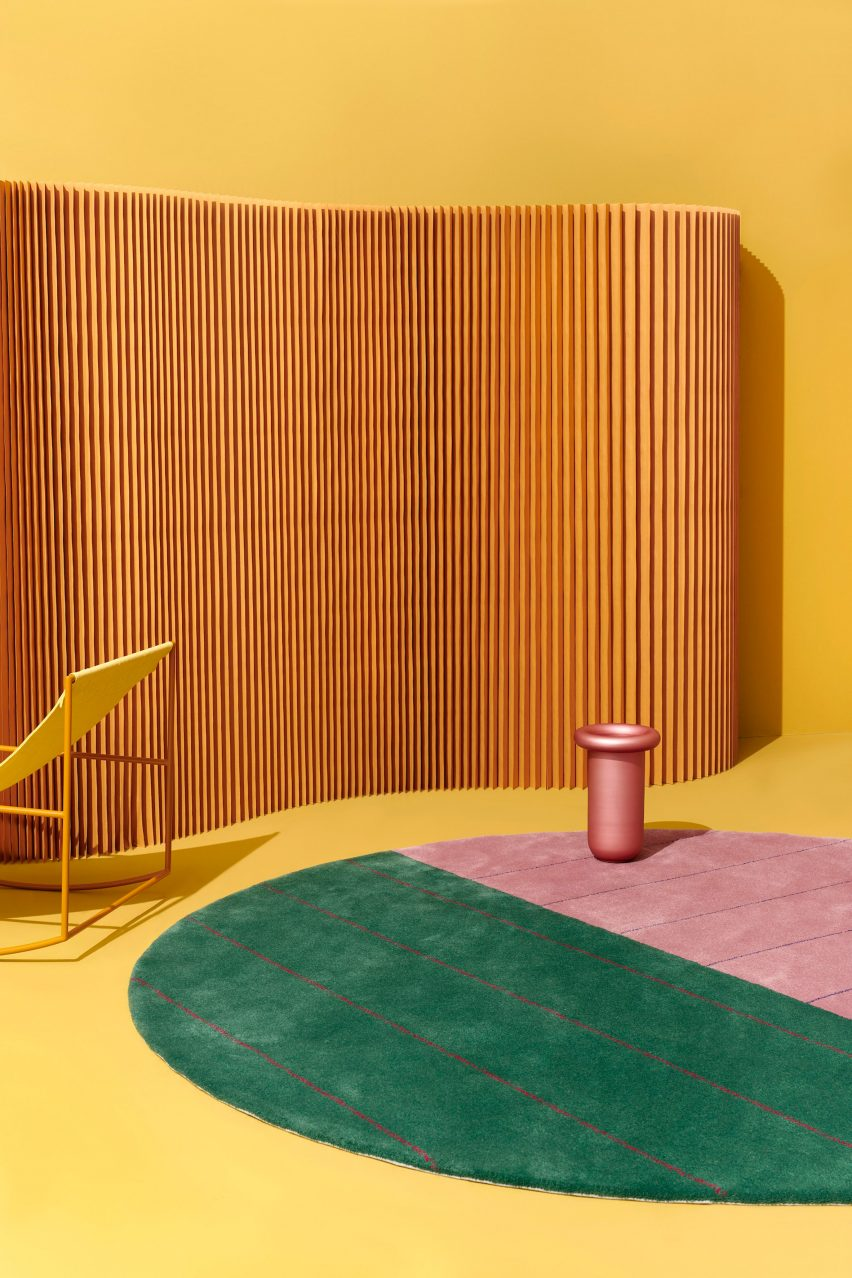 Pink and green Kasthall rug by Sight Unseen at Stockholm Design Week