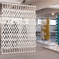 Petra Vonk creates acoustic Plectere curtains from 3D-knitted felt
