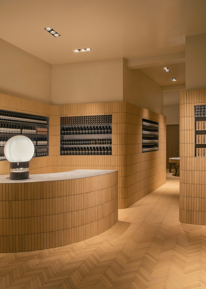 Interiors of Aesop Brussels store on Rue de Namur, Brussels, designed by Bernard Dubois