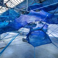 Anya Hindmarch and Numen/For Use create woven blue tunnels at London Fashion Week