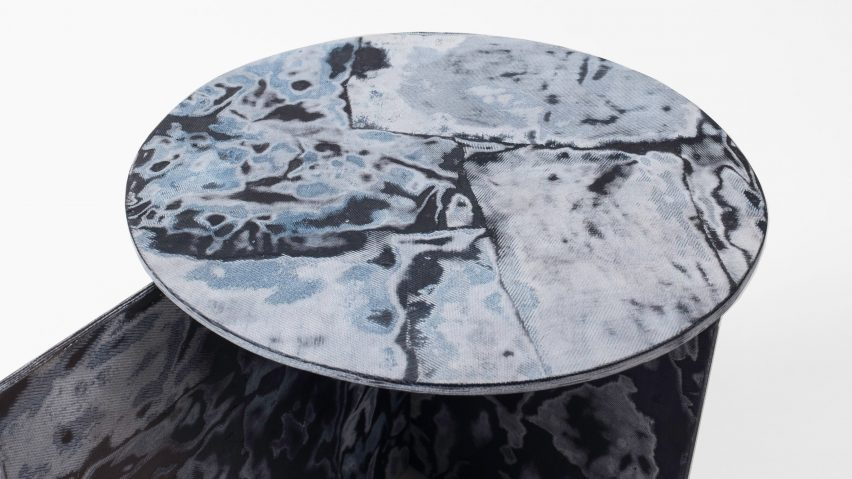 Sophie Rowley's Bahia Denim marble-like furniture is made from repurposed denim