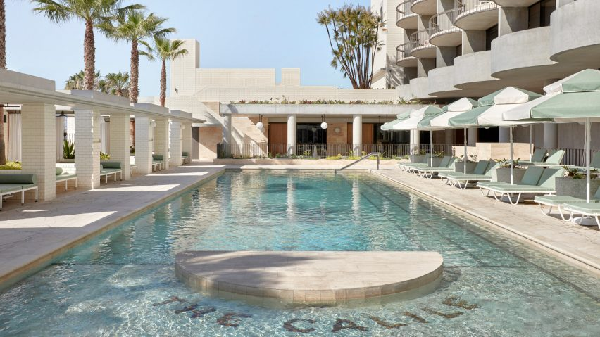 Pool area of The Calile Hotel, designed by Richards and Spence