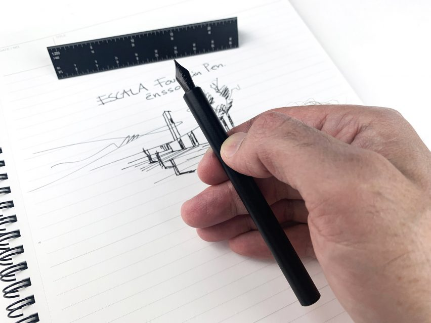 Escala is a scale-ruler fountain pen for architects