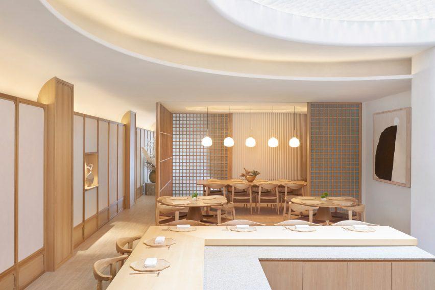 Interiors of Esora restaurant, designed by Takenouchi Webb