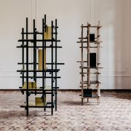 Esrawe Studio's Trama shelves are designed to resemble scaffolding