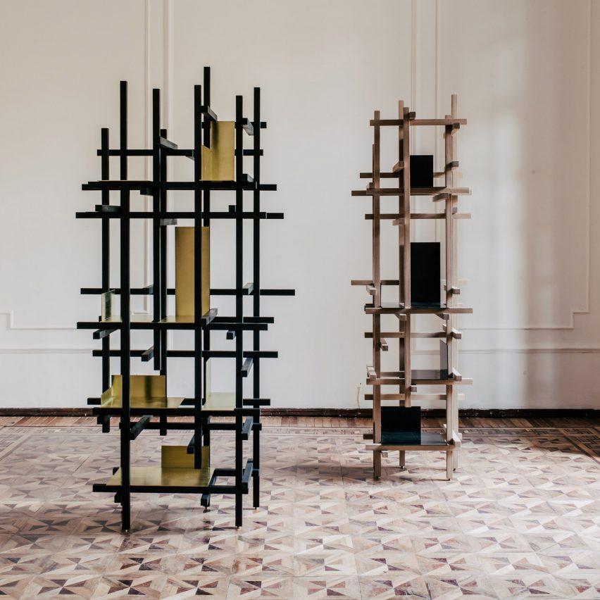Esrawe Studio's Trama shelves are designed to resemble scaffolding