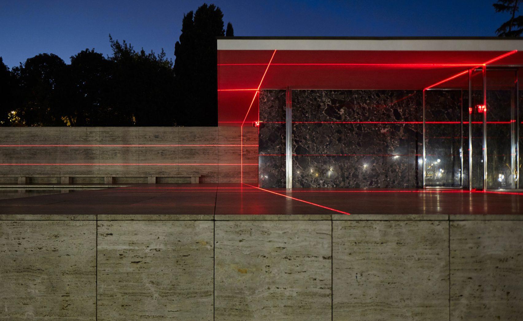Geometry of Light installation at Barcelona Pavilion by Luftwerk and Iker Gil