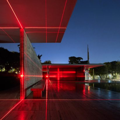 Geometry of Light installation at Barcelona Pavilion by Luftwerk and Iker Gil