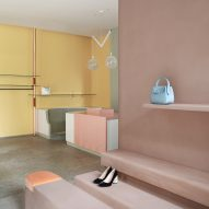 Pastel partitions divide the Imarika boutique in Milan