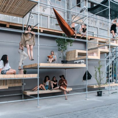 Level Up street pavilion by Brett Mahon, Joonas Parviainen, Saagar Tulshan, Shreyansh Sett and Vanja Borovic