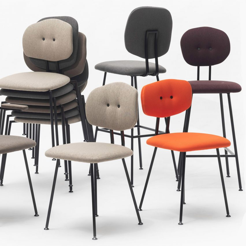 Maarten Baas designs bar stools with unusually-shaped backrests for Lensvelt