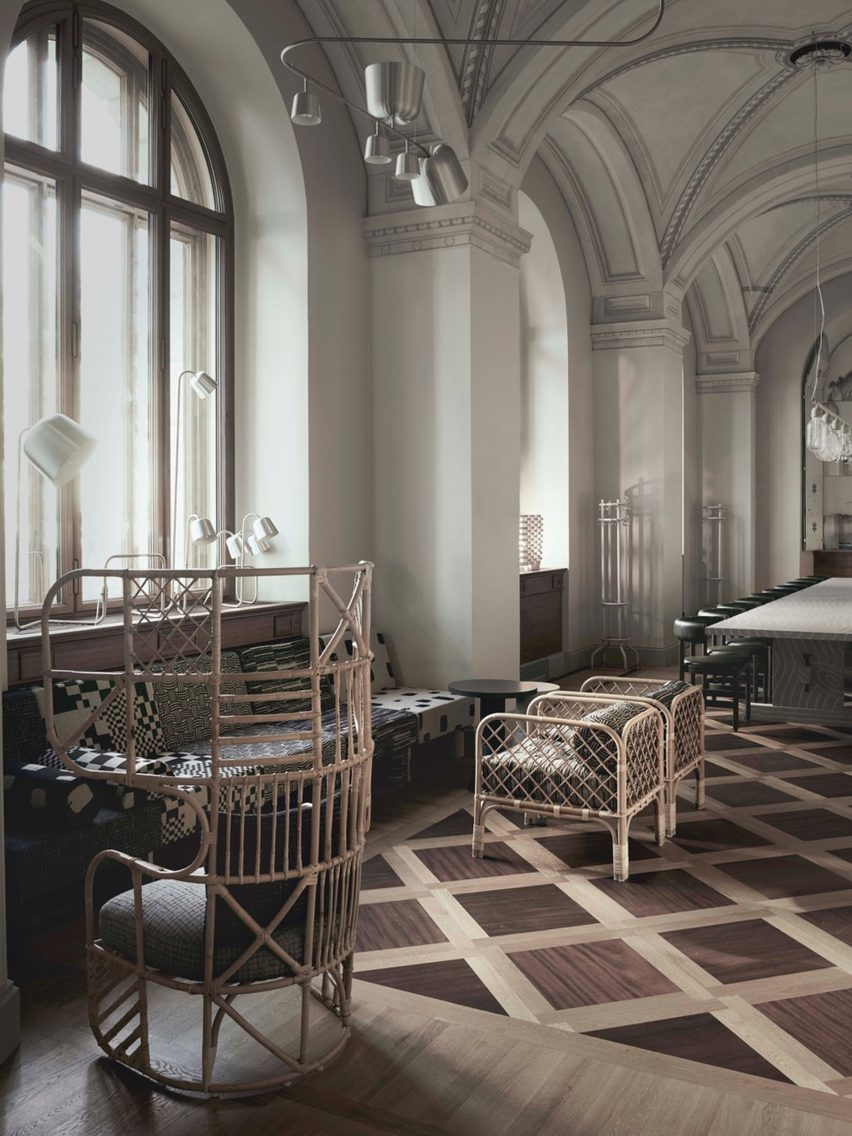 Matti Klenell was amongst five Swedish designers commissioned to furnish new public spaces in Stockholms renovated Nationalmuseum