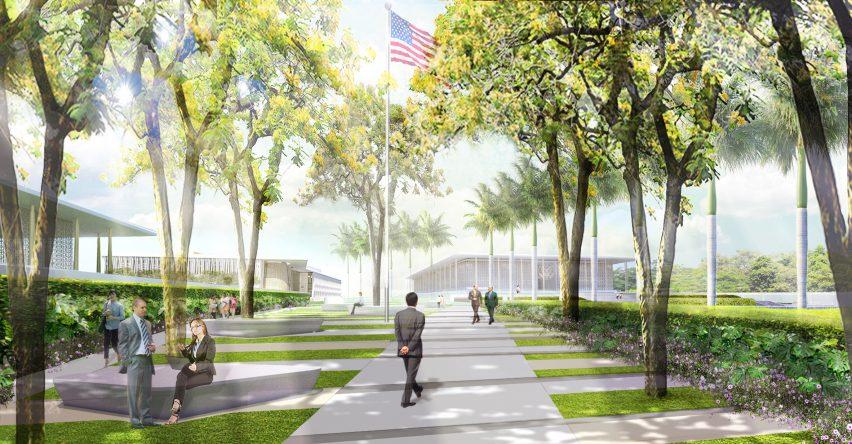 New Delhi US embassy masterplan by Weiss Manfredi