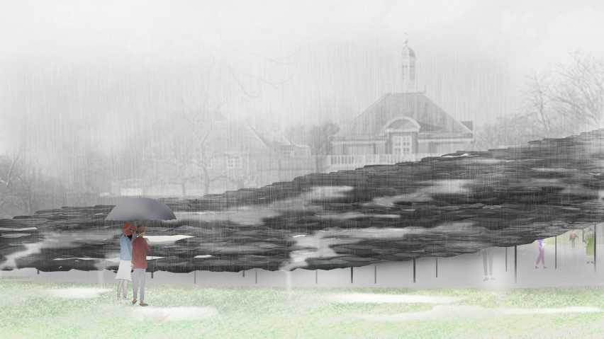 Serpentine Pavilion 2019 interior design render by Junya Ishigami + Associates