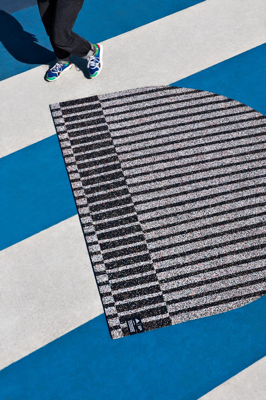 Simone Post makes rugs from recycling old Adidas trainers
