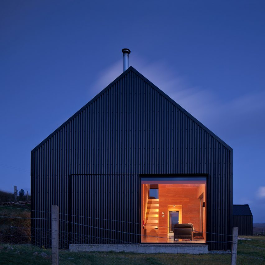 Black Shed house on the Isle of Skye has fir interiors and a black tin exterior