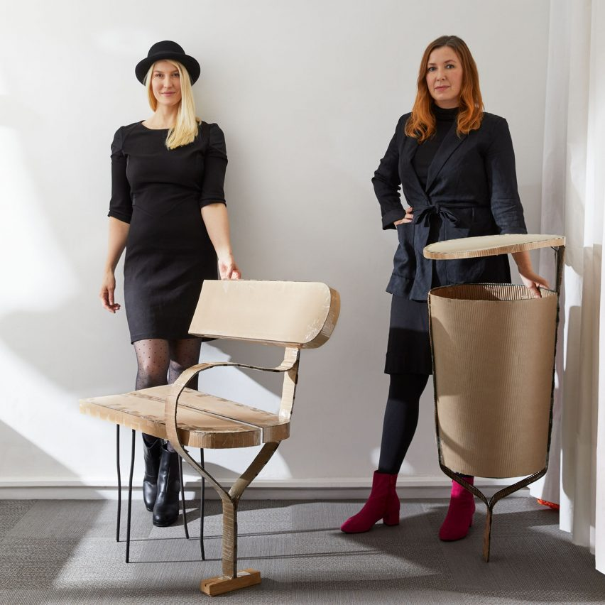 Sofia Lagerkvist and Anna Lindgren, co-founders of Swedish design studio Front, with prototypes of their Folk collection for Vestre