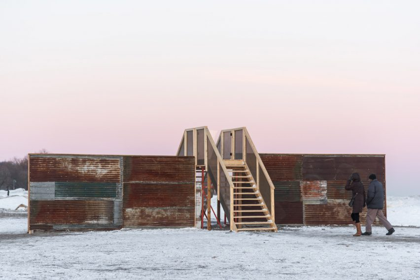 Above the Wall installation by Joshua Carel and Adelle York for Winter Stations Toronto 2019