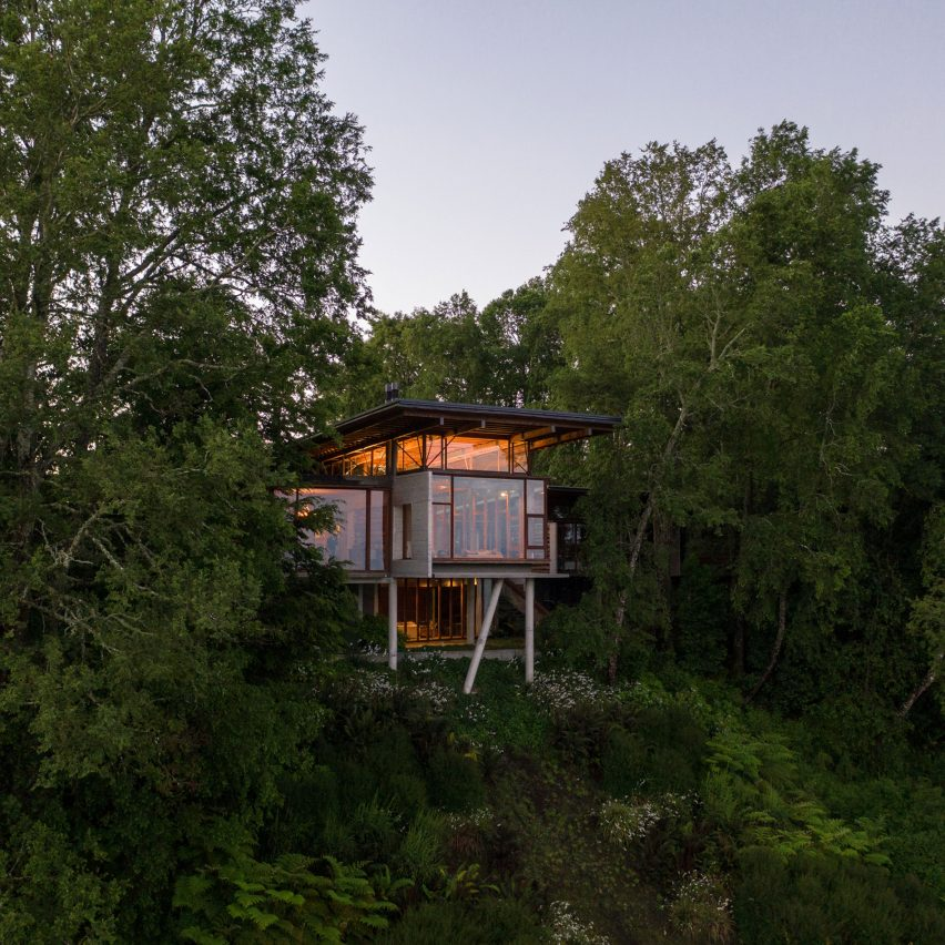 Stilted Apus House by Aguilo + Pedraza peeks through Chilean forest