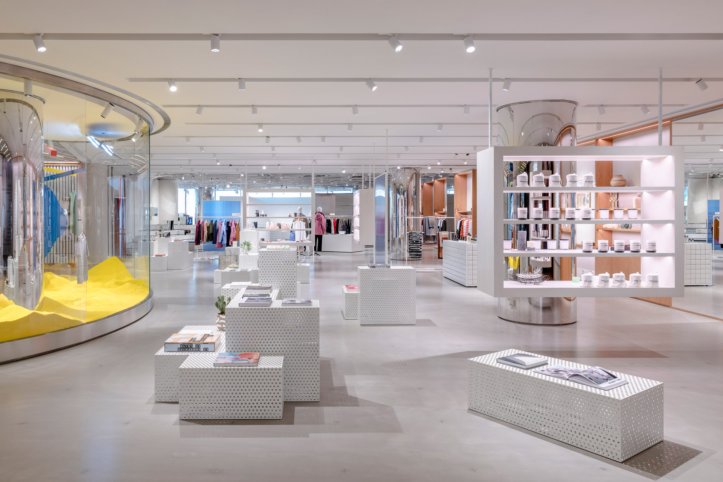 Interiors of Assemble by Réel store in Shanghai, China, designed by Kokaistudios