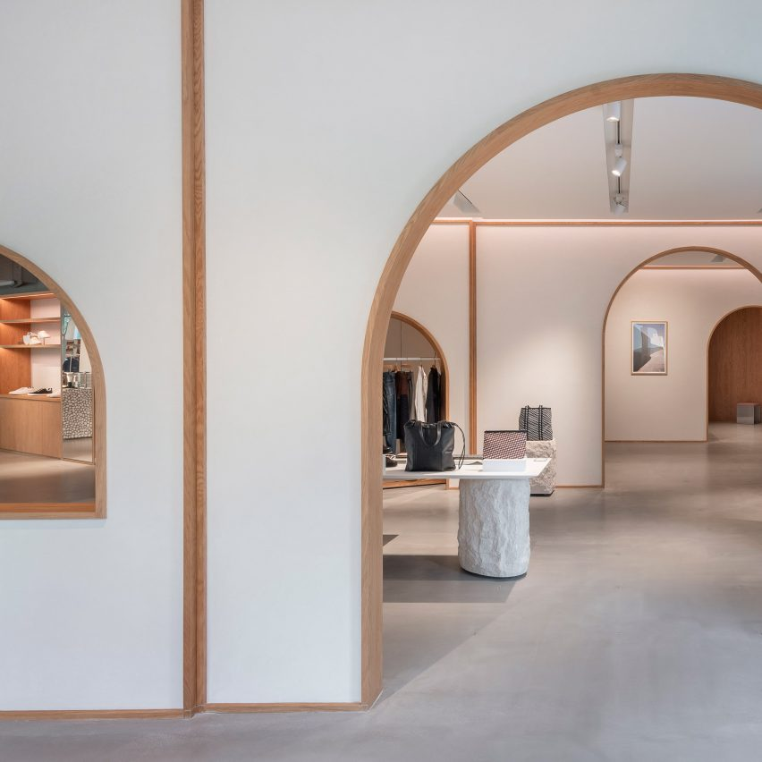 Interiors of Assemble by Réel store in Shanghai, designed by Kokaistudios