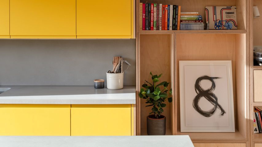 Gruff Architects overhauls 1930s London terrace with birch joinery and colourful accents