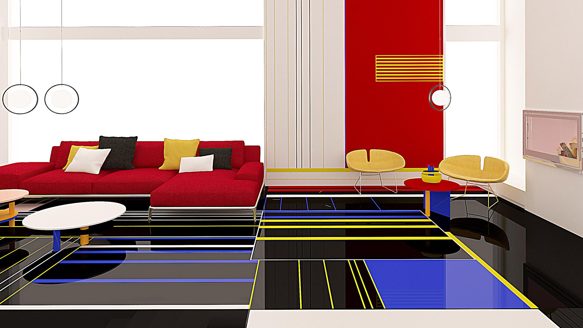 This week on Dezeen: Breakfast With Mondrian apartment