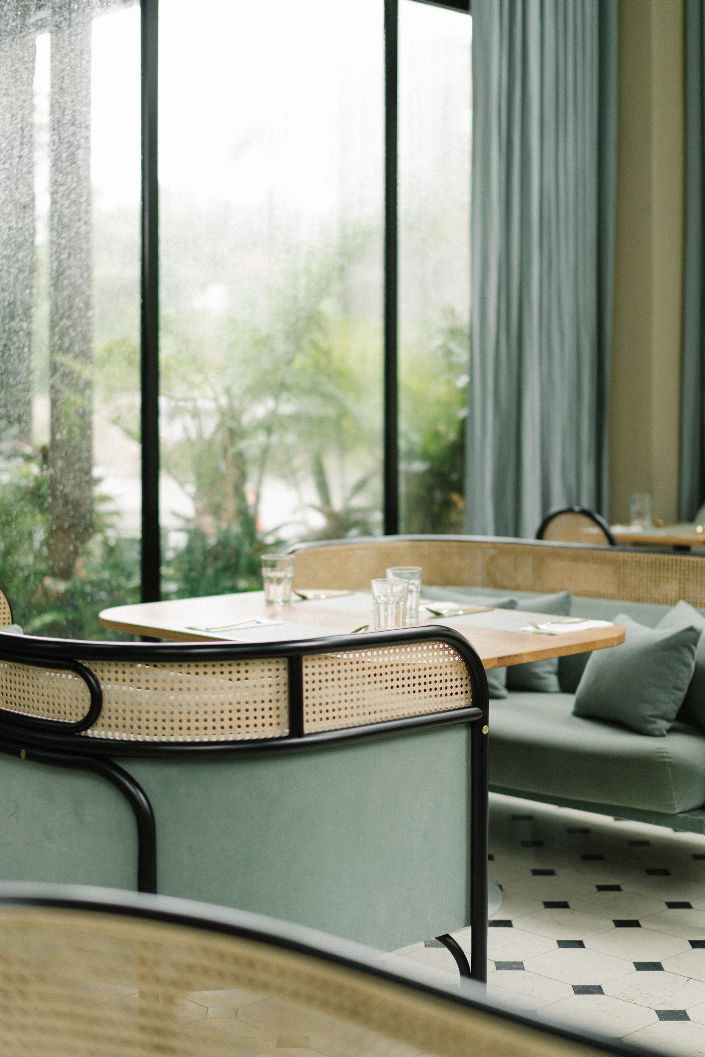 Interiors of the Harlan + Holden Glasshouse cafe designed by Gamfratesi