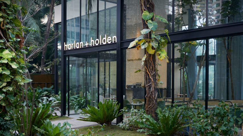Interiors of the Harlan + Holden Glasshouse cafe designed by Gamfratesi