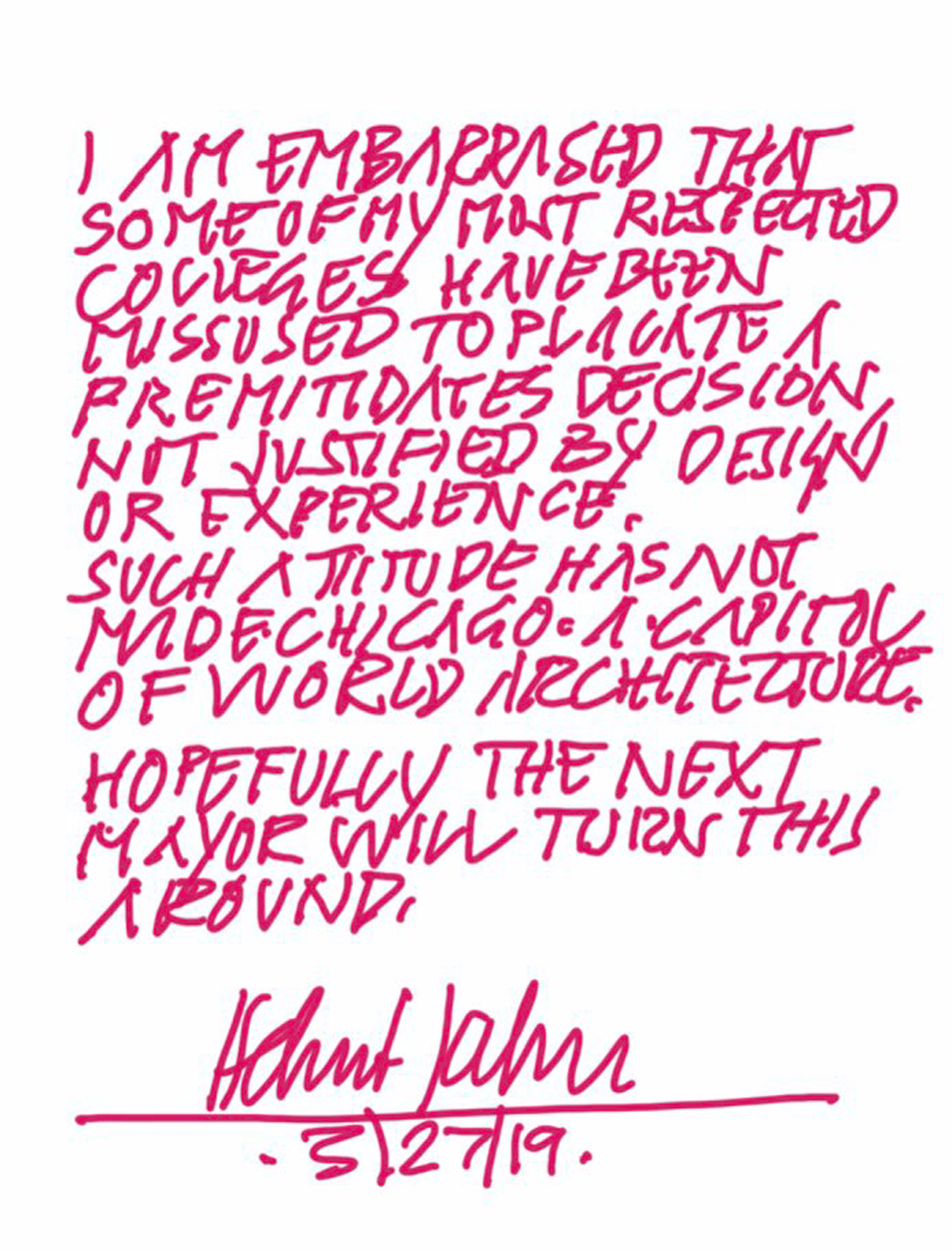 Helmut Jahn note on Chicago O'Hare airport news