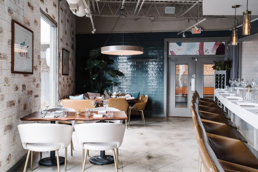 Atlanta's Lazy Betty restaurant pairs industrial details and pops of on