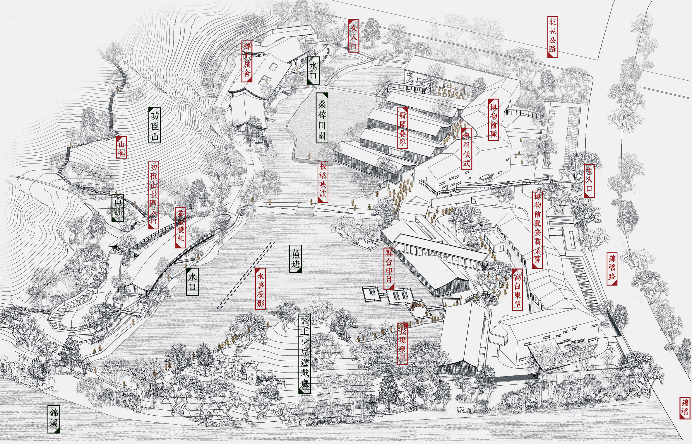 Drawing of Lin'an History Museum by Amateur Architecture Studio