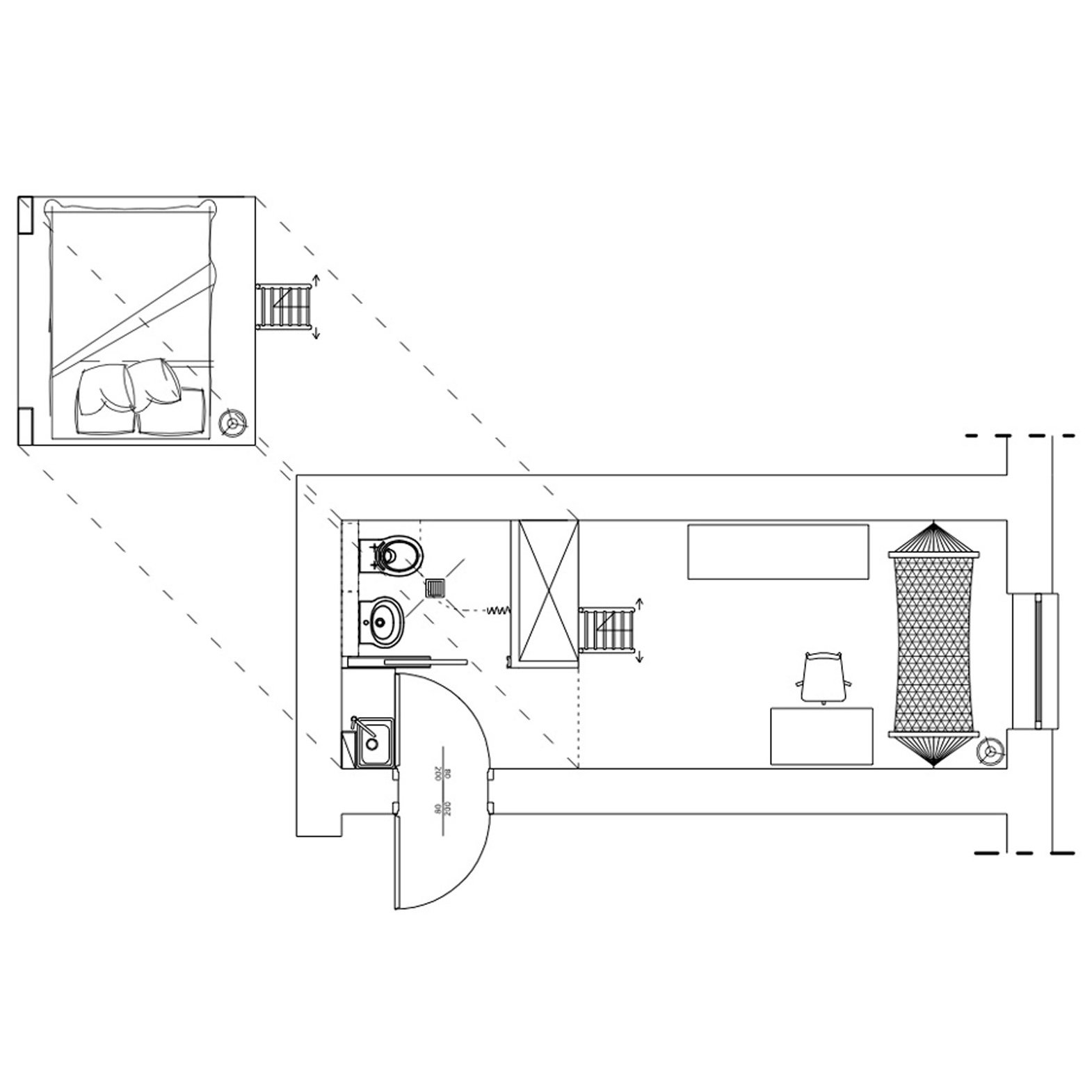 Micro apartment and micro home floor plans