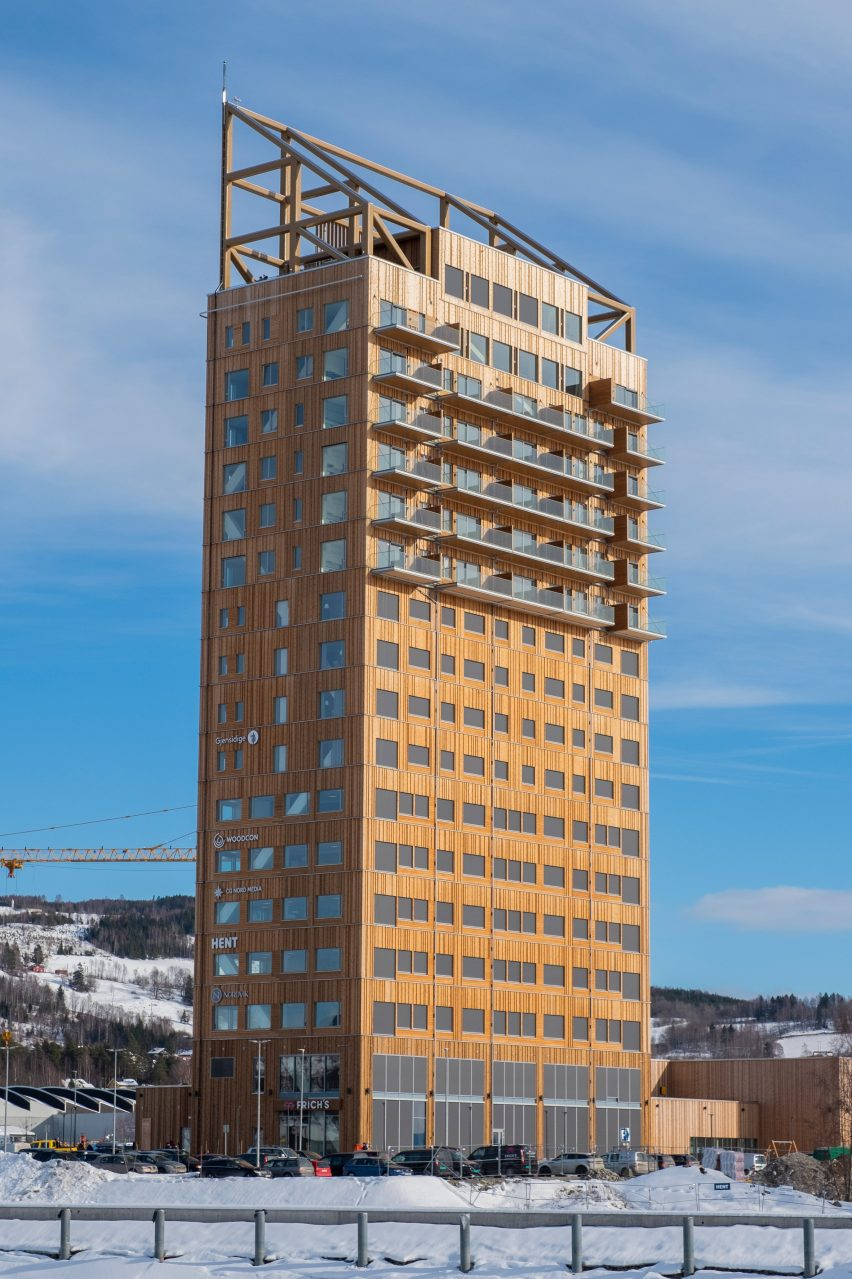 World's tallest timber building: Mjøstårnet by Voll Arkitekter in Brumunddal, Norway