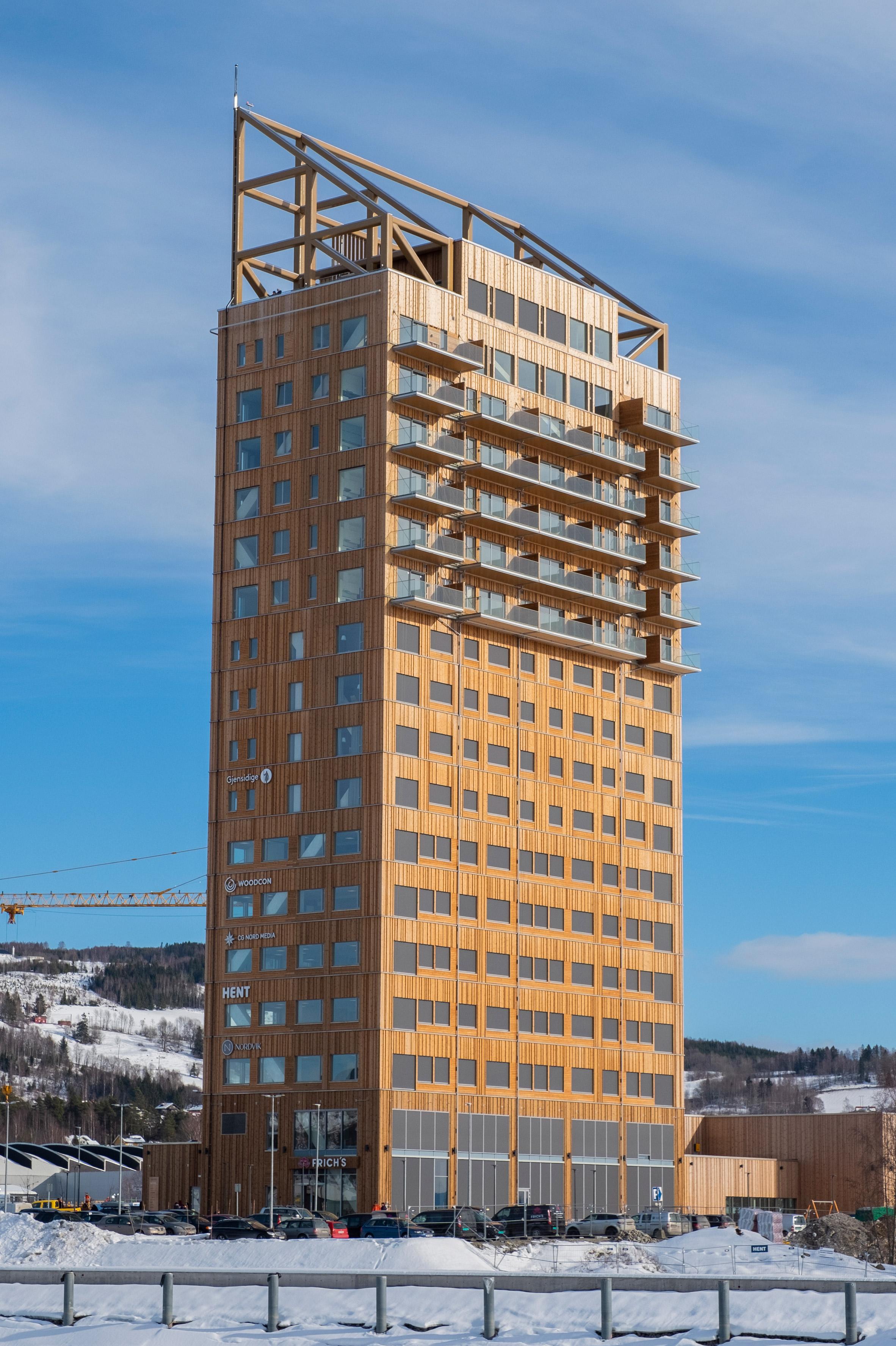 World's tallest timber building: Mjøstårnet by Voll Arkitekter in Brumunddal, Norway