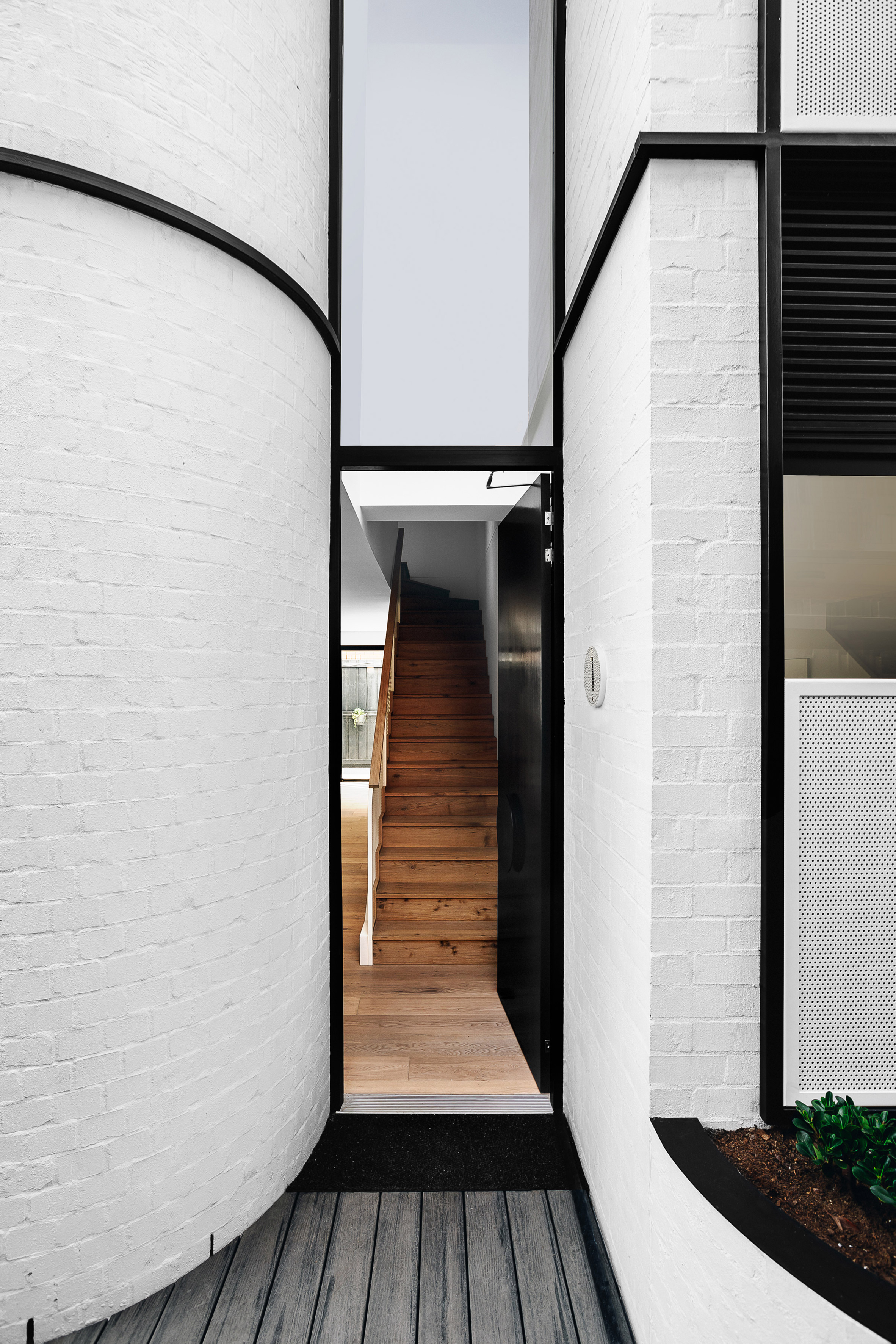 Exterior of Pine Ave townhouses by Cera Stribley Architects and The Stella Collective