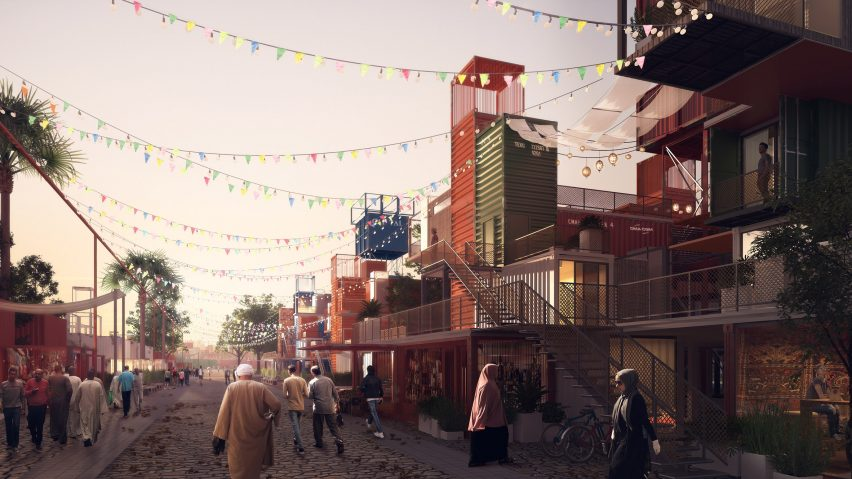 Shipping container micro-housing proposed for City of the Dead in Cairo