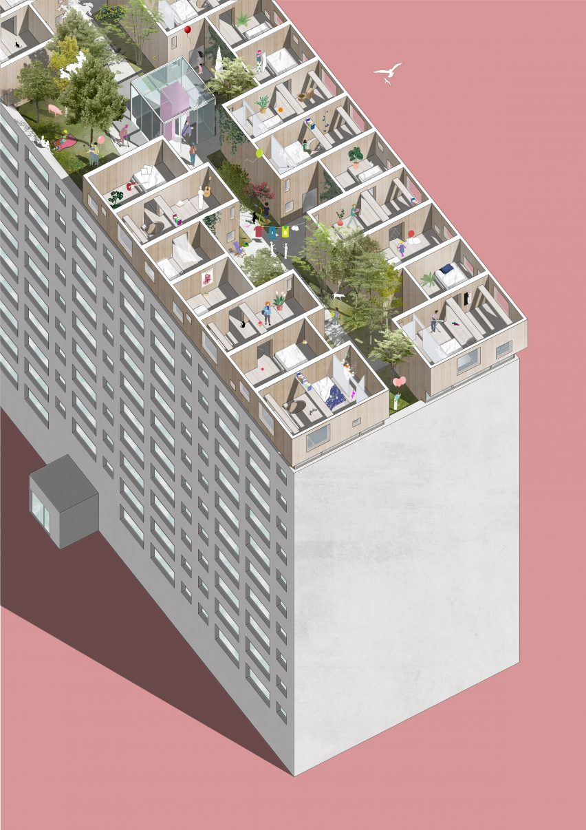 Danish architect Sigurd Larsen has designed a proposal for modular housing installed on a Berlin rooftop