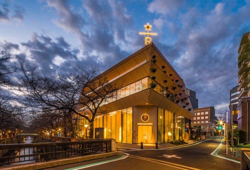 Exterior of Starbucks Reserve Roastery Tokyo, desinged by Kengo Kuma