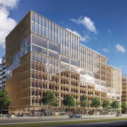 "3XN unveils ""tallest timber office building"" in North America"