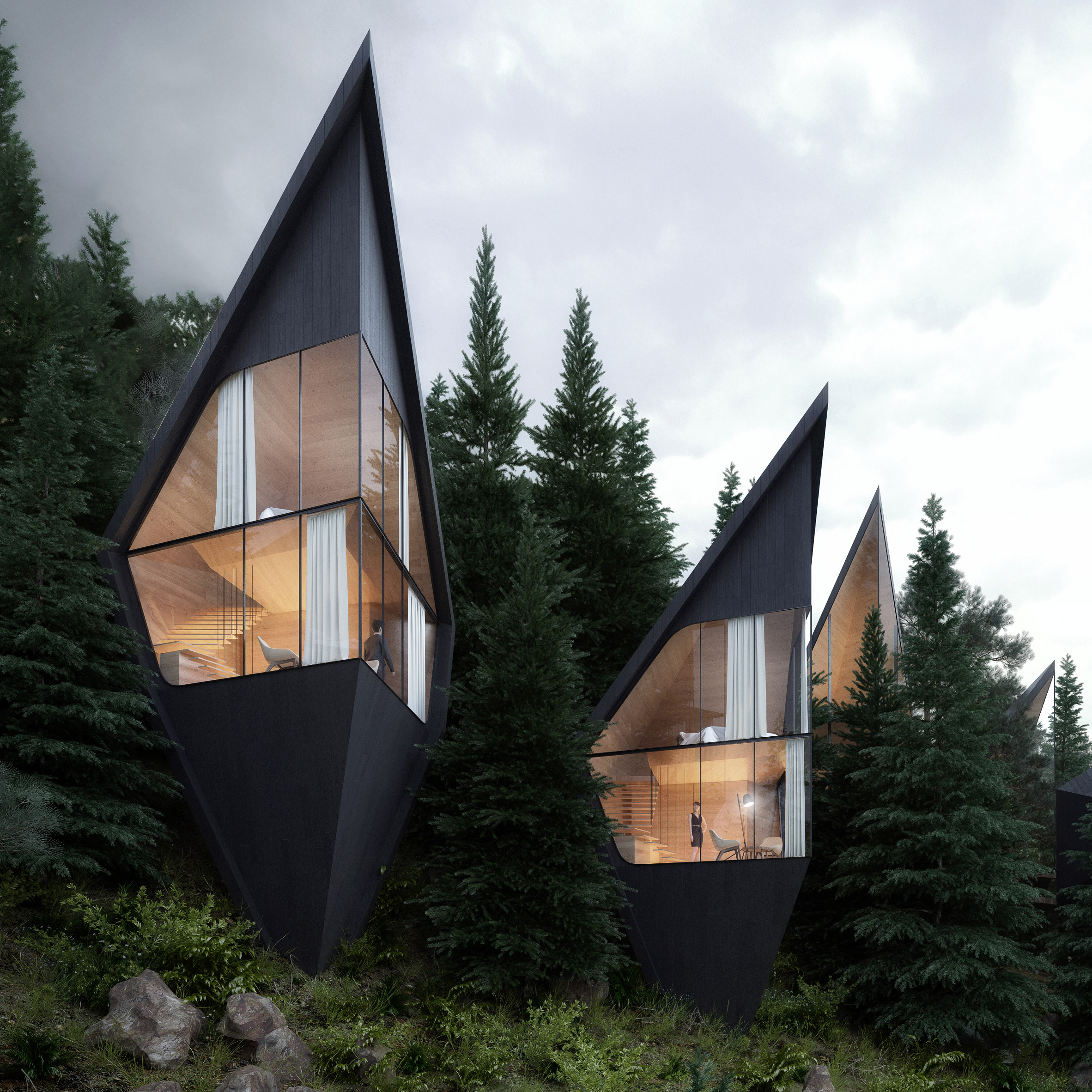 Peter pichler designs tree house hotel rooms for forest in italian dolomites