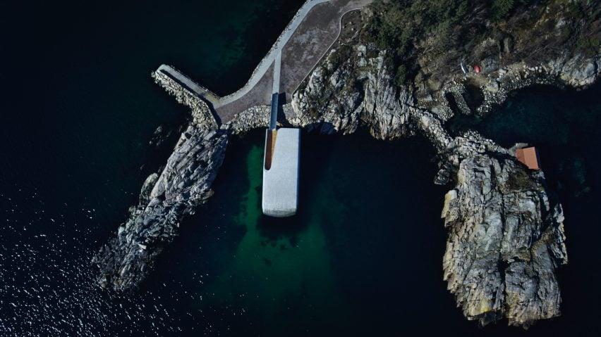 Aerial photo of Under, Europe's first underwater restaurant, by Snohetta in Båly, south Norway