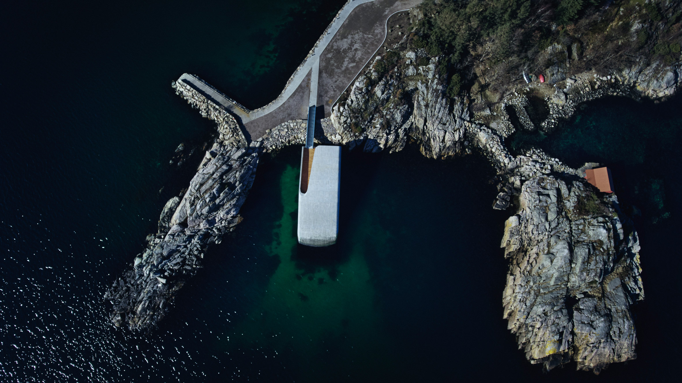 Aerial photo of Under, Europe's first underwater restaurant, by Snohetta in Båly, south Norway