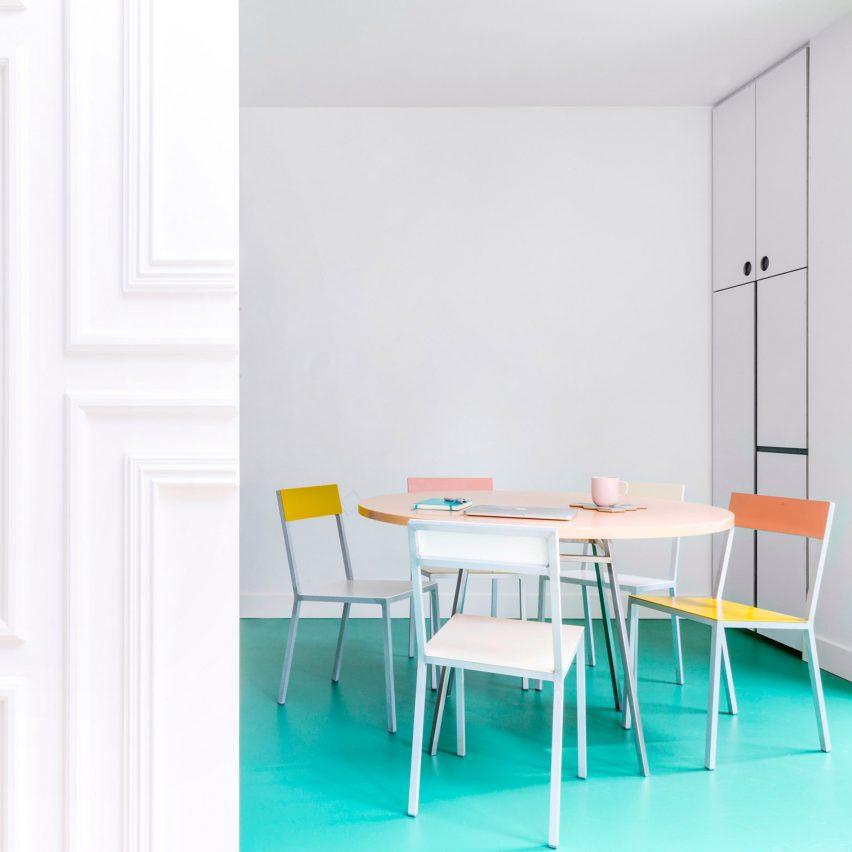 Block colours and hidden storage feature in Van Staeyen's Antwerp townhouse renovation