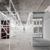 White scaffolding fills interior of Wardrobe NYC boutique by Jordana Maisie